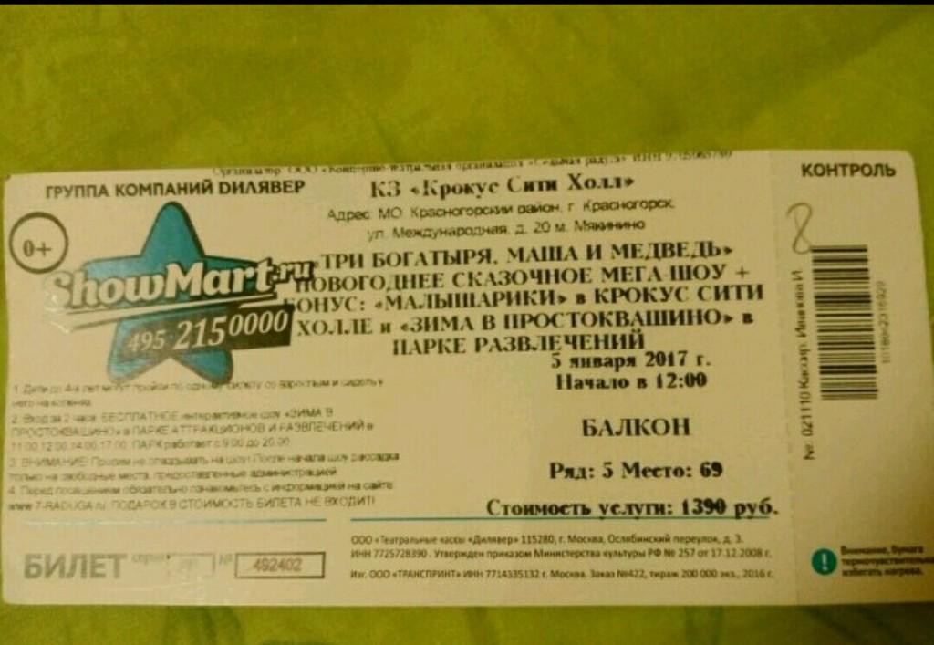 Билет на подарок на елку 886