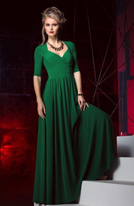 Фото зелёное платье в пол