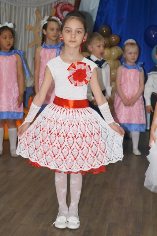 Вязание крючком платья на выпускной в детском саду 41