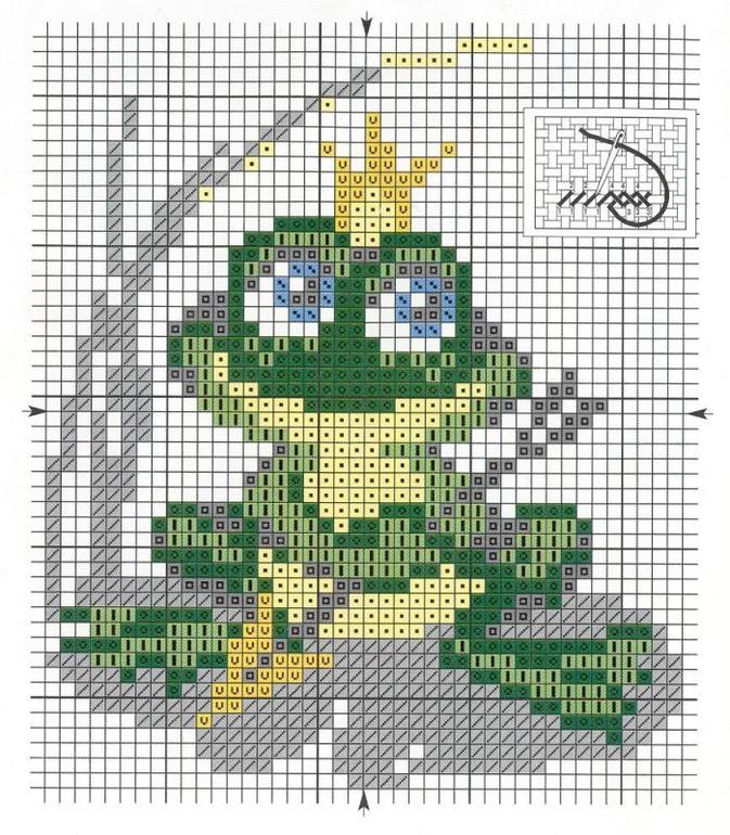 Схемы к вышивке крестом лягушата