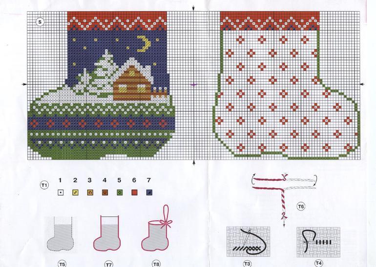Схема вышивки новогоднего сапожка 12