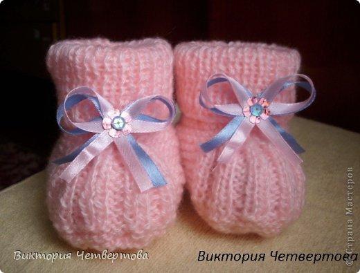 Вязание для новорожденных девочек пинетки спицами 55