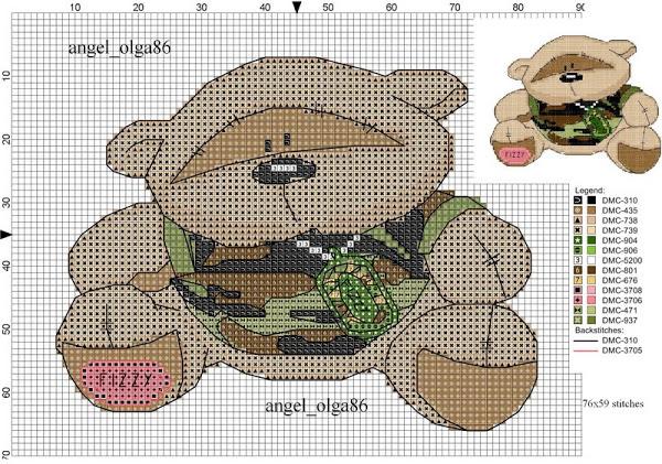 Схема вышивки крестом солдат 81