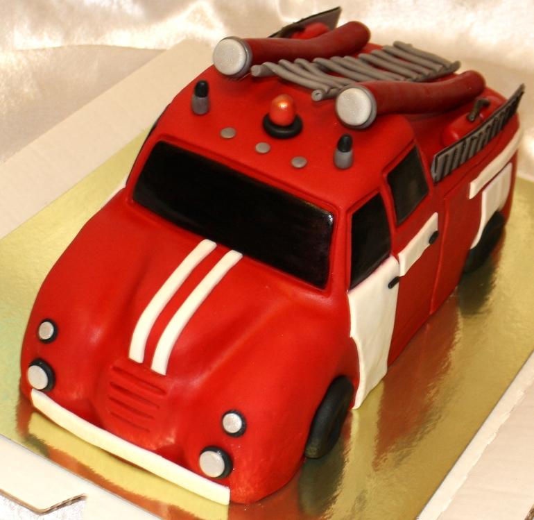 Как сделать пожарную машину на торте 190