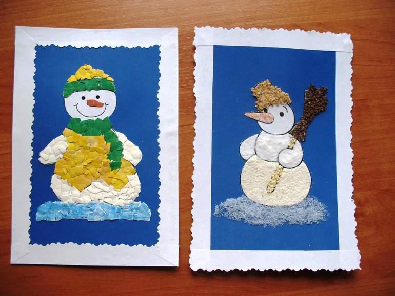Новогодние открытки - мастерим с малышами