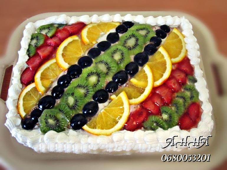 Украшение торта из фруктов в домашних условиях фото