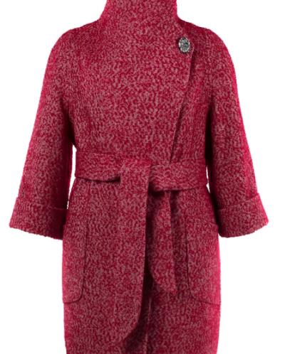 01-7426 Пальто женское демисезонное(пояс) Твид Красный