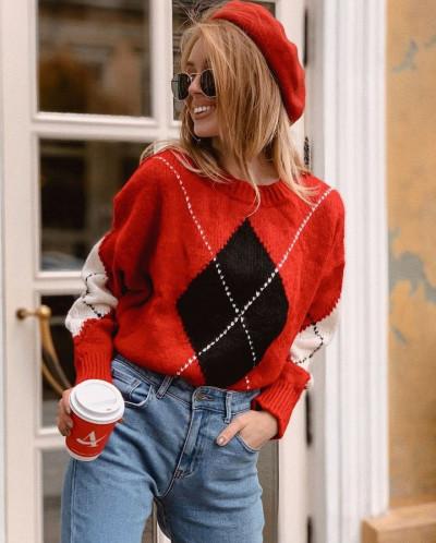 Вязаный свитер с ромбами - V 174  от Domenica