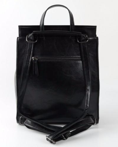 Женский кожаный рюкзак W048 Черный