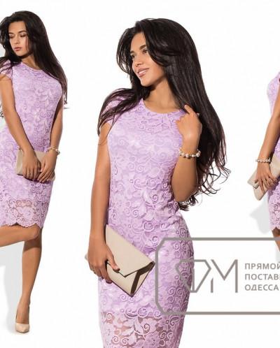 Сиреневые гипюровые платья
