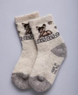 """Носки детские из шерсти 100% с рисунком""""Олененок"""", Монголия"""