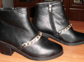 Ботинки мех черные кожаные 35-36 ст.24 см