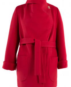 01-4517 Пальто женское демисезонное (пояс) Кашемир Красный