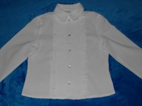 Блузка белая на пуговицах, 116-128 см