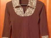 Блуза шоколадная с цветными вставками 164/170/88