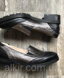Туфли 475-3 никель кожа+черн кожа (острый нос)