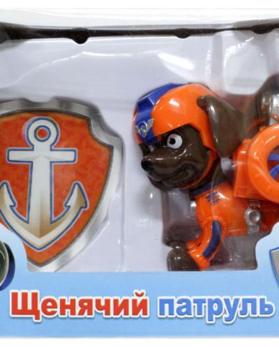 Щенок-спасатель cо спецрюкзаком 7см + полицейский значок