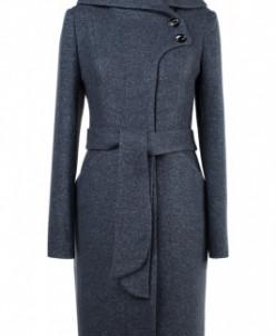 01-8062 Пальто женское демисезонное(пояс) Вареная шерсть Сер
