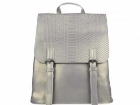 Новый кожаный рюкзак под рептилию серебро
