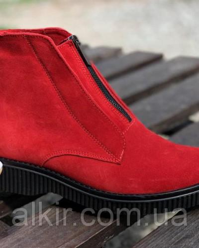 Ботинки из натуральной красной замши №379-9 (астра 13 черн )