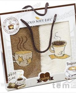 Махровые Полотенца с Вышивкой 30x50 см. 2 шт./уп. Coffee - G