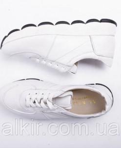 Кроссовки №374-18 белый флотар + белая кожа