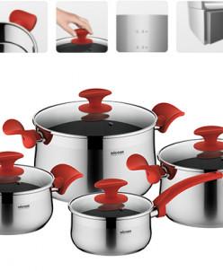 Набор посуды со стеклянными крышками, 8 пр., NADOBA, серия K