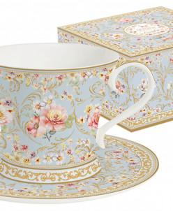 Чашка с блюдцем (голубая) Majestic в подар.упаковке