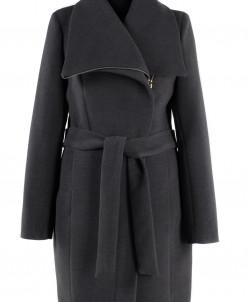 02-1378 Пальто женское утепленное (пояс) Кашемир Серый