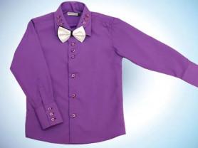 """Рубашка д/м """"фиолет"""" с бабочкой 128-134"""