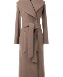 09-2166 Пальто женское демисезонное (пояс) Кашемир Кэмел