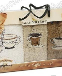 Махровые Полотенца с Вышивкой 30x50 см. 3 шт./уп. Coffee - G