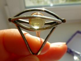 перстень авторский мельхиор + кварц/цитрин