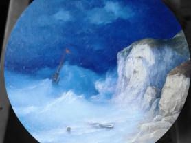 Морской пейзаж на круглом холсте