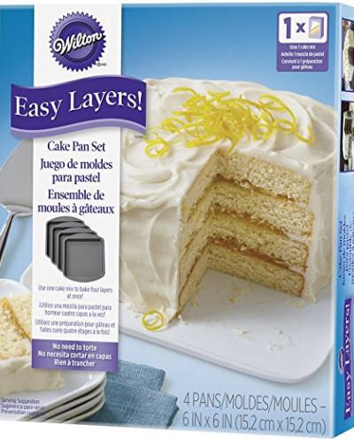 Wilton 2105-5748 4 Piece Easy Layers Square Cake Pan Set