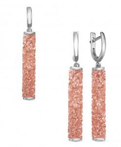 Гарнитур из серебра с кристаллами Swarovski родированный
