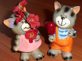 Набор фигурок кот и кошка керамика высота 8 см