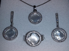Серебряный комплект с натур. камнем 925 пробы