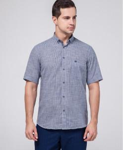 Удобная рубашка мужская Rotelli темно-синяя модель