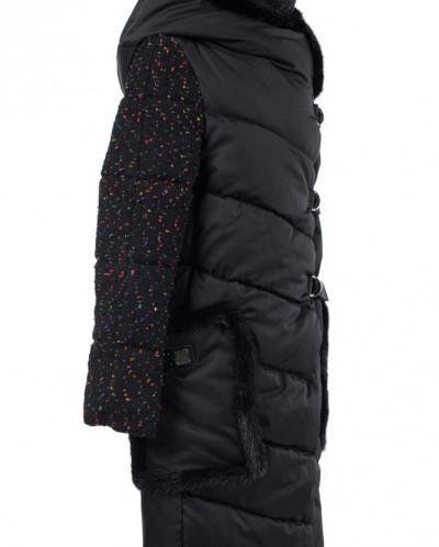 02-1842 Пальто женское утепленное Букле/Плащевка Черный