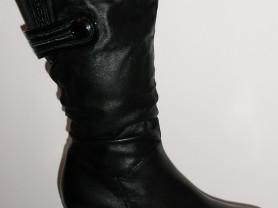 Сапоги кожаные теплые мех широкая голень ст.26 см