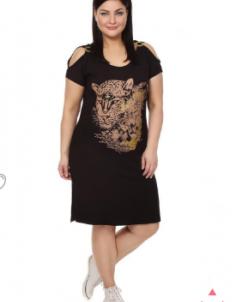 Платье Черный с принтом