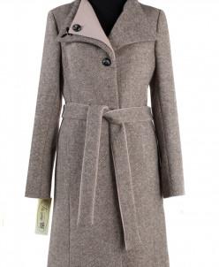 01-4753 Пальто женское демисезонное (пояс) Твид Бежевый