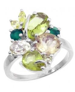 Кольцо , зеленый агат , лимонный топаз , перидот , Юг Артику