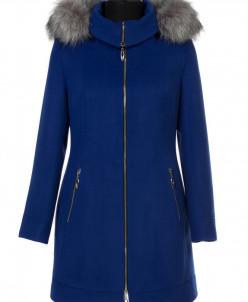 02-0463 Пальто женское утепленное Кашемир Сапфир