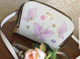 Новая кожаная сумка кроссбоди Италия с бабочками