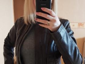 Укороченная кожаная куртка 44
