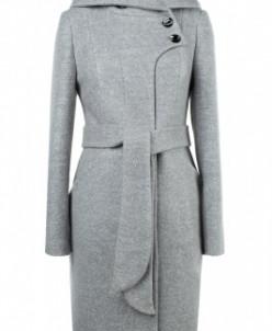 01-8063 Пальто женское демисезонное Вареная шерсть Светло-се