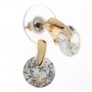 Серьги-пуссеты с цирконием, золото 750 пробы