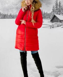 Зимняя Куртка Флорида (красный бежевый мех) Olis-Style